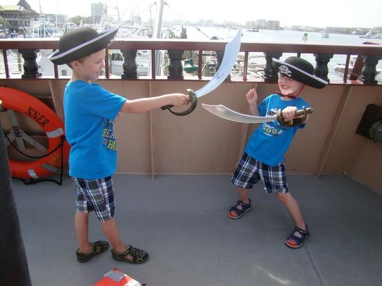 The boys sword fighting - Picture of Buccaneer Pirate Cruise