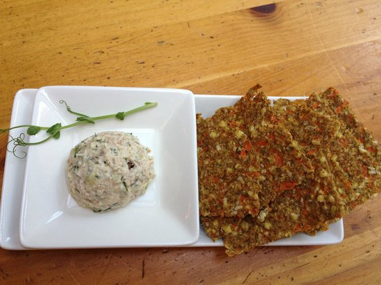 Cafe by Tao: Beautiful Nut Cheese Spread on Buckwheat Crackers - All Vegan