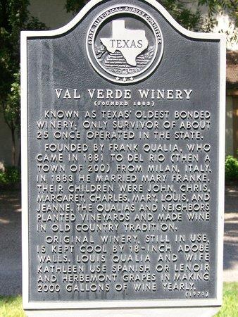 Val Verde Winery historical marker