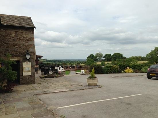 The Fox & Goose Inn: looking over the patio and the views
