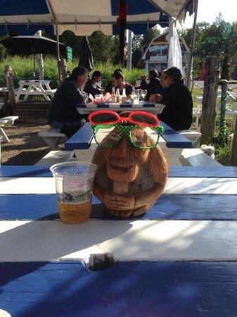 coconut joe enjoying a flying monkey ale
