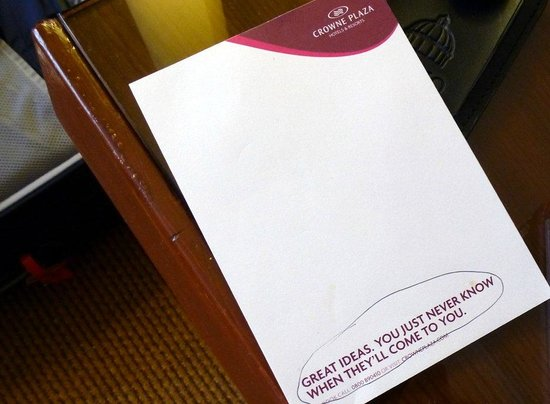 Crowne Plaza Manchester Airport: Yet more blather. . . even on a simple note-pad.