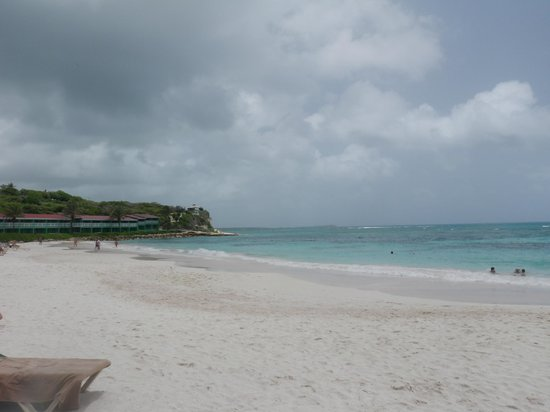 Pineapple Beach Club Antigua: tropical oceanfront rooms in the distance