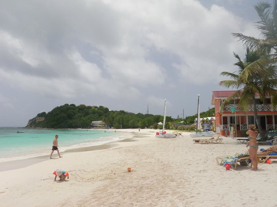 Pineapple Beach Club Antigua: The far end of the beach is where you go to snorkel