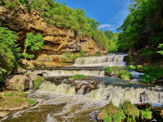 Gorgeous Sunny Day in the Willow River Limestone Gorge and Waterfall.