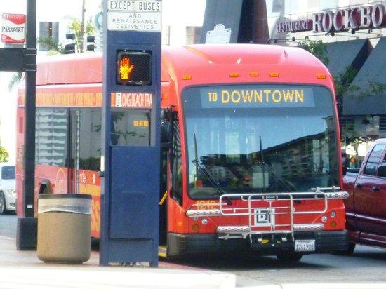 Long Beach Waterfront: The red free PASSPORT bus double-runs through Downtown Long Beach.