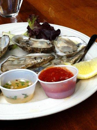 Fishbones Bar & Grille: Local Katama Oysters at Fishbones in Oak Bluffs on Martha's Vineyard