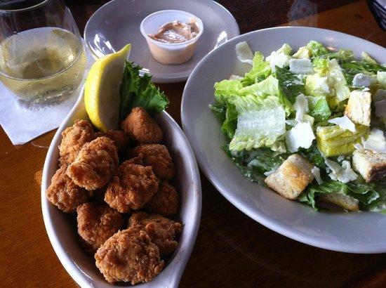 Fishbones Bar & Grille: Shark Bites and Caesar Salad at Fishbones in Oak Bluff on Martha's Vineyard