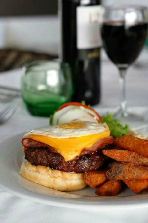 The Bay House Restaurant & Bar: Chef's burger with garlic mayonnaise, B.B.Q sauce, ham, cheese, slow cooked onion and fried egg
