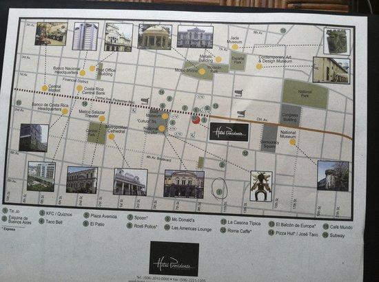 Hotel Presidente: Map of downtown San Jose
