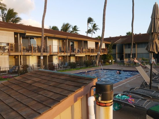 Hale Kai Oceanfront Condominiums: #213 at end on 2nd floor. View from far corner of pool