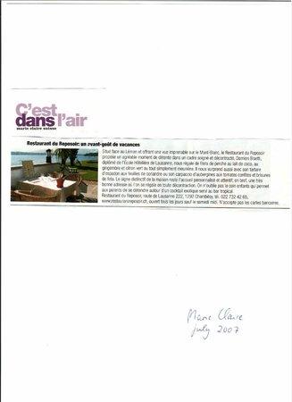 """Bar & Restaurant Plage du Reposoir: What magazine """"Marie Claire"""" says about us"""