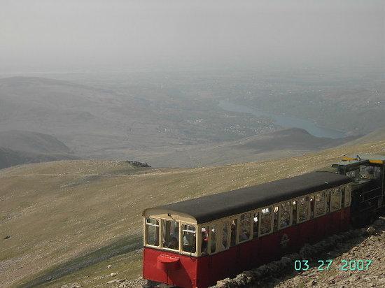 Tyddyn Perthi: Train at the top of Snowdon