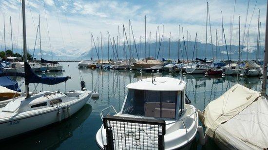 Le Restaurant du Port: Blick von der Terrasse auf den Genfer See