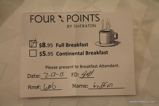 Four Points by Sheraton Charlotte : Full breakfast will cost $8.95 and its not worth it