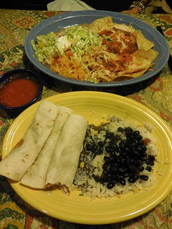 Pacho's Mexican Grill : Top: Chilaquiles Norteños; bottom: Fish Tacos with fried tilapia