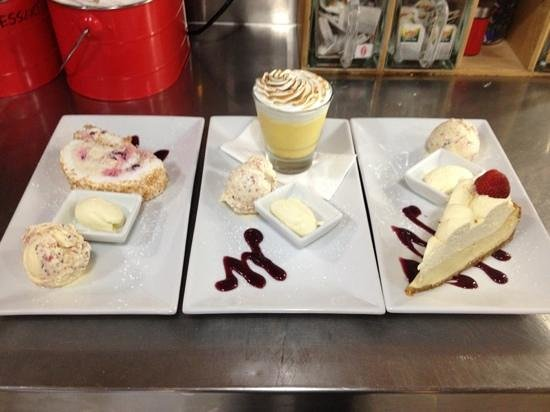 Rustlers Steakhouse and Grill : mixed berry meringue roulade, lemon meringue pie and chai latte cheese cake.