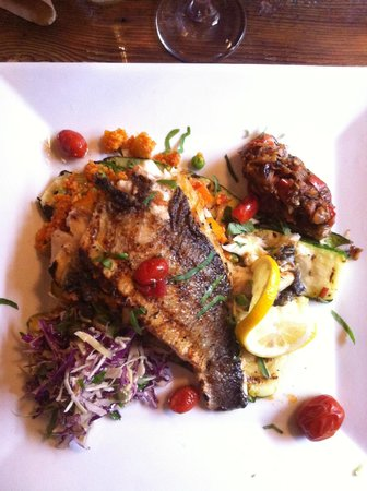 Byrsa Bistro: Seared Branzino, grilled vegetables and couscous