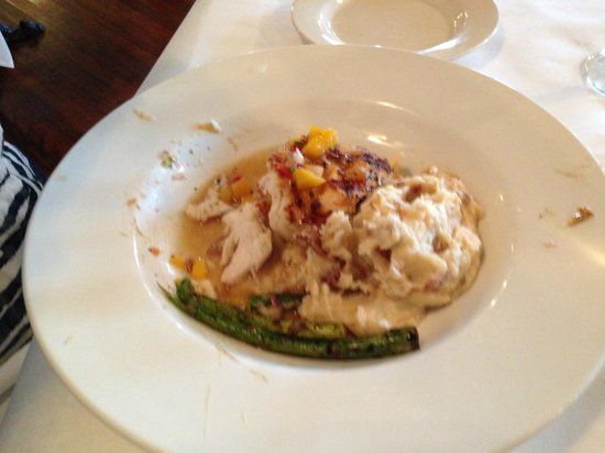 Ira's at the Gibson Inn: Digging into my Swordfish & Garlic Potatos!