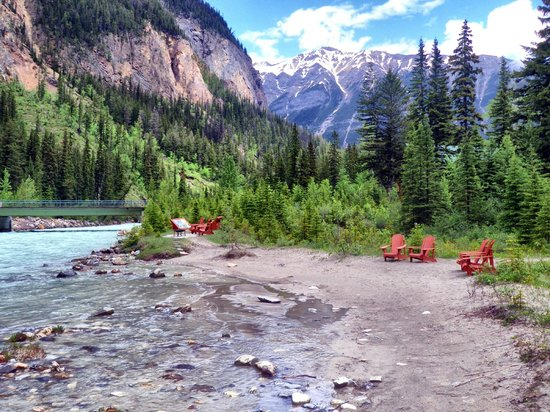 Cathedral Mountain Lodge: Firepits beside Kicking Horse River