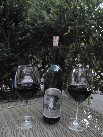 Cottage Grove Inn : Enjoying wine on the comfy lounge chairs