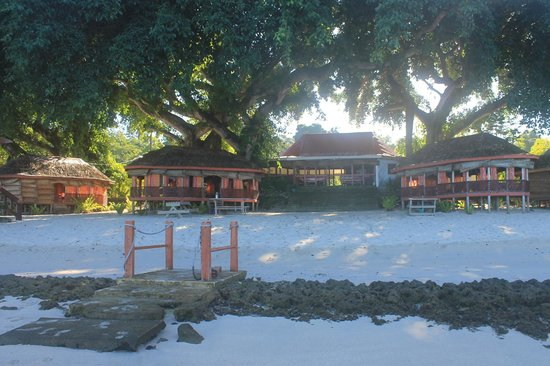 Satuiatua Beach Resort : Beach fales under the banyan trees