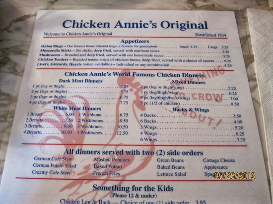 Chicken Annie's Original: The menu - don't even look at the alternatives at the bottom