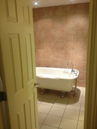 The Daniel: view from bedroom into bath, nice clawfoot soak tub - King Suite