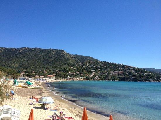 Hotel Mediterranee : Photo de la plage. L'hôtel se trouve au bout à gauche.