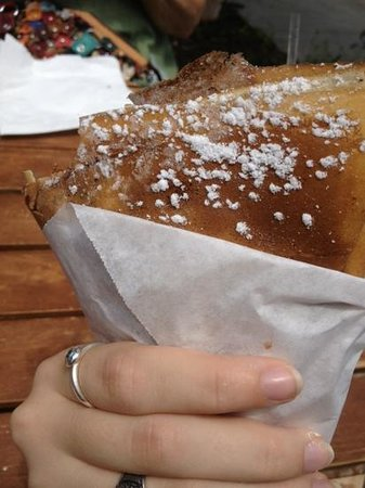 Crepes Paulette: Banana and Nutella Crepe w/ powdered sugar