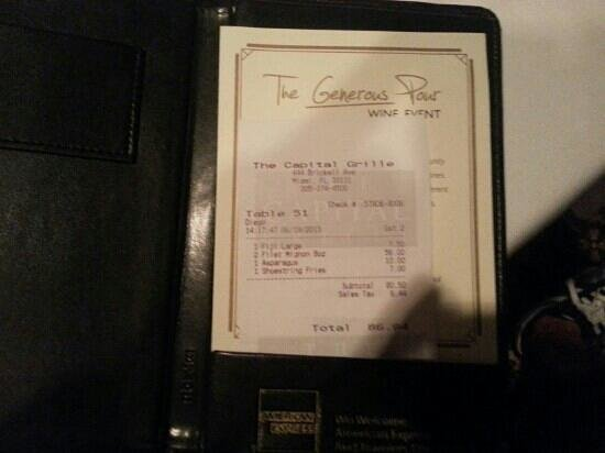 The Capital Grille: the bill