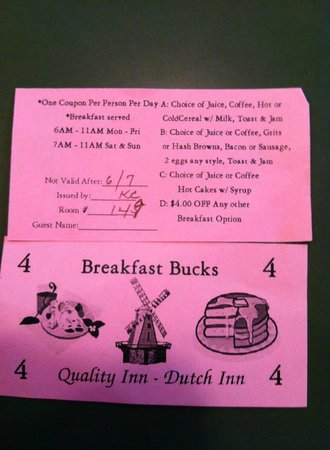Quality Inn Dutch Inn: Free Breakfast