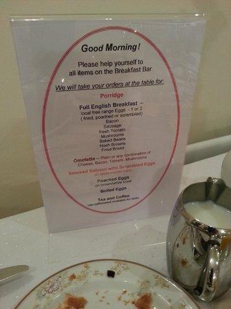 Lingwood Lodge: Breakfast menu