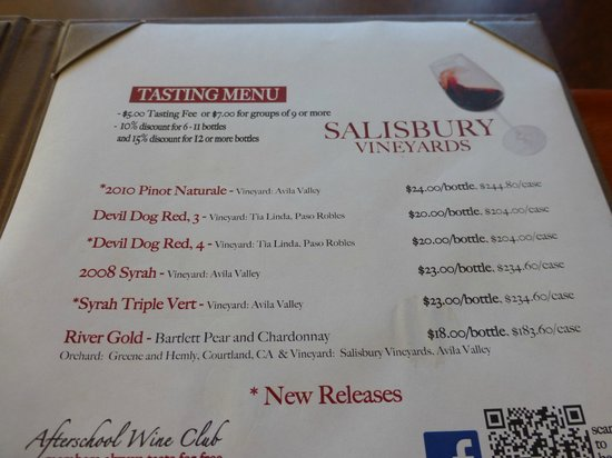 Salisbury Vineyards: Wine Tasting Selrection