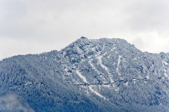 Baerenstueberl: ホテルの側の道路わきから見たイーグルズ・ネスト(山頂左寄り)