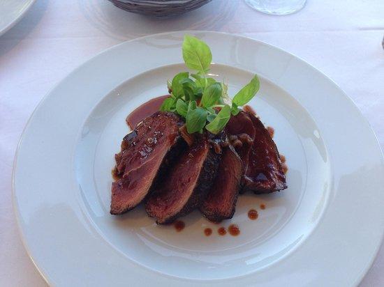 Vineland Estates Winery Restaurant: Lakeland's Venison Haunch, Maple & Parsnip Purée, Brown Butter Fiddleheads, Cipollini Jus