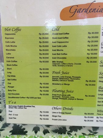 Gardenia Cafe: Menu May 2013