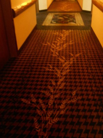 Stoney Creek Hotel and Conference Center - Des Moines: Wheat stalk pattern in the hallway carpet.
