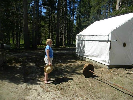 White Wolf Lodge: Wife in front of one of the tent cabins
