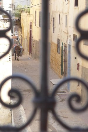 Riad Anne de Meknes: vue du salon : ruelle de la médina