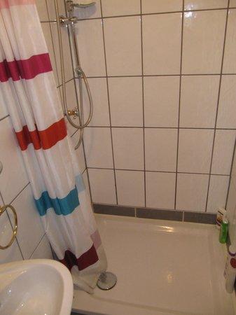 Ziegelstadel: Duschvorhang statt wie im Internet dargestellte Kabine
