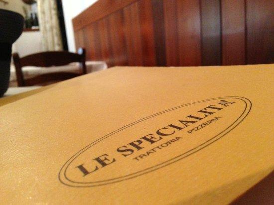 Le Specialita: the menu