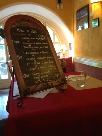 l'Arpege : the blackboard menu
