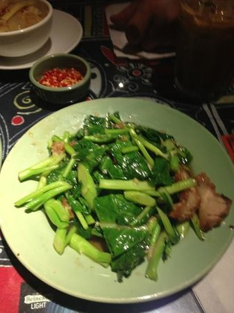 Mambo : Crispy pork with Chinese broccoli.