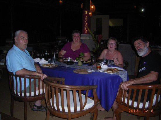 Medewi Bay Retreat: Sun burnt but enjoying dinner