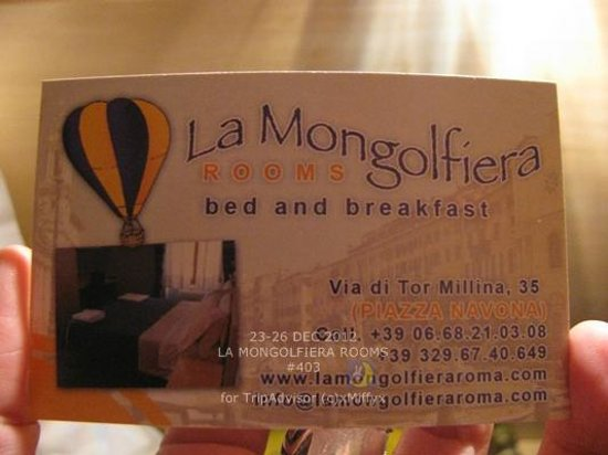 La Mongolfiera Rooms: Their business card