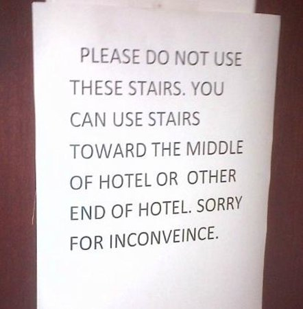 Microtel Inn & Suites by Wyndham Duncan/Spartanburg: Paper sign on door of second floor stairwell/fire escape