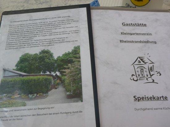 Gaststaette Kleingartenverein Rheinstrandsiedlung: Reichhaltige Speisenkarte