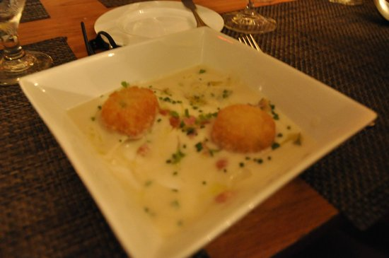 Oran Mor: Roasted Cauliflower Soup with Cod Fritter