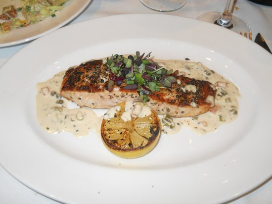 Del Frisco's: Grilled Salmon with a zesty caper sauce....I gave up beef so I couldn't enjoy the steak